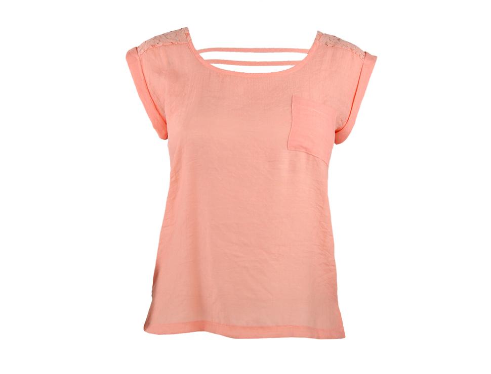 blusa manga corta con encaje en espalda fashion mexico